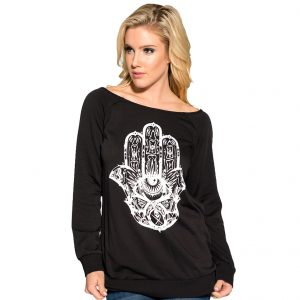 Cleo Hamsa Womens Pullover Top