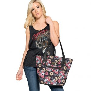 Flower Field Skull Womens Handbag