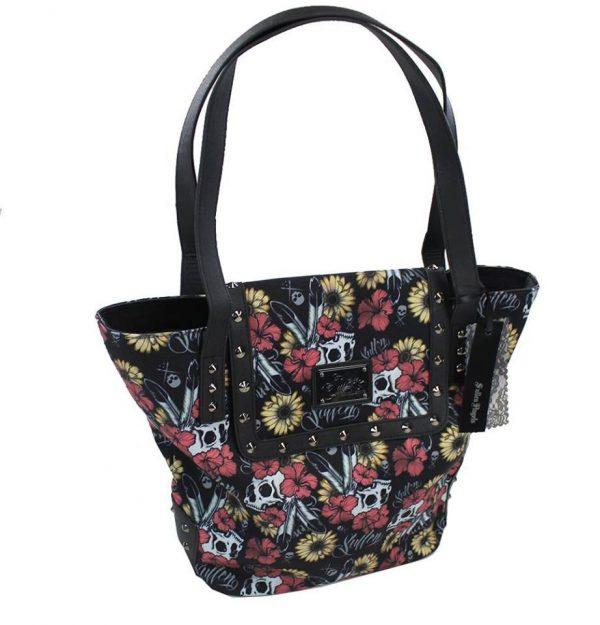 Flower Field Skull Womens Handbag