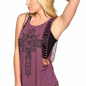 Moon Cross Womens Muscle Top - Burgandy