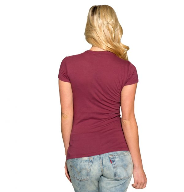 Run With Wolves Womens Crew Tee - Burgundy