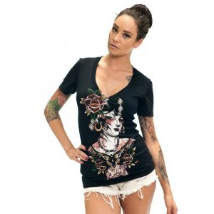 VM Butterfly Womens V-Neck Tee